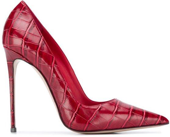 Eva crocodile-effect leather pumps