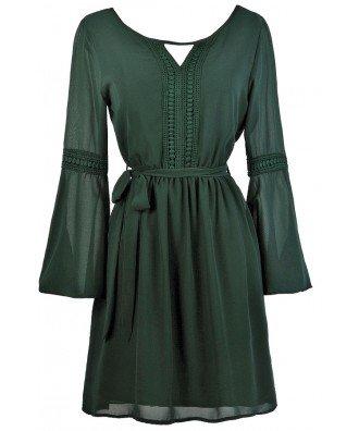 Green Bell Sleeve Dress, Cute Boho Dress, Cute Fall Dress, Forest Green Dress Lily Boutique