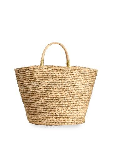 Sensi Studio Maxi Woven Straw Basket Tote Bag w/ Double Golden Thread | Neiman Marcus