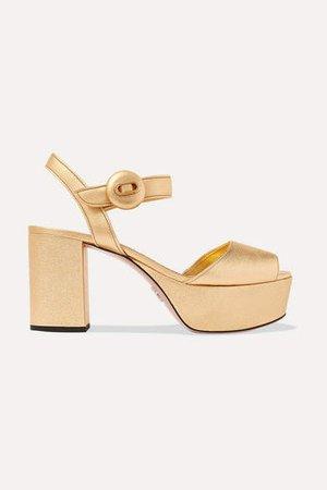 Metallic Textured-leather Platform Sandals - Gold