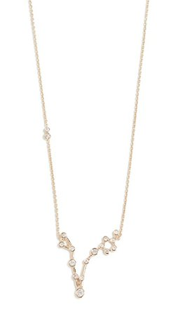 Lulu Frost 14k Gold Pisces Necklace with White Diamonds | SHOPBOP