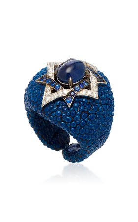 Fabio Salini Blue Sapphire Cabochon and Leather Ring