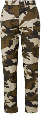 Camouflage-print Cotton-canvas Straight-leg Pants