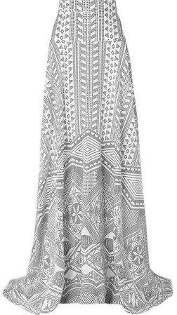 Printed Silk-twill Maxi Skirt - Ivory