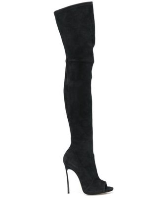 Black Casadei Maxi Blade thigh-high boots - Farfetch
