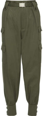 Belted Cotton-gabardine Tapered Pants - Army green