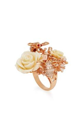 Bumble Rose 18K Gold, Diamonds And Enamel Ring by Anabela Chan   Moda Operandi