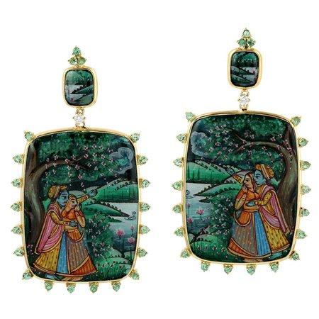 Enamel Hand Painted 18 Karat Gold Diamond Tsavorite Maharaja Earrings For Sale at 1stDibs