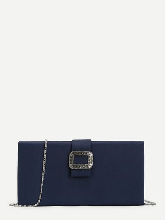 Buckle Front Clutch Chain Bag