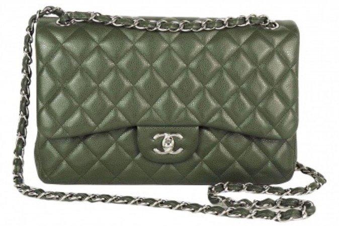 olive green Chanel boy bag