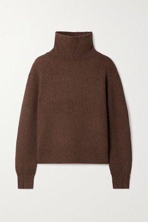 Chocolate Pierce ribbed cashmere turtleneck sweater | rag & bone | NET-A-PORTER