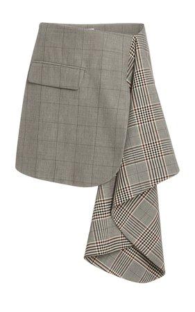 Dual Plaid Cascade Wool-Blend Mini Skirt by MONSE | Moda Operandi