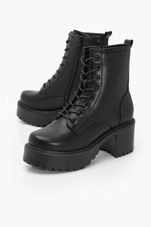 Block Heel Lace Up Hiker Boots | Boohoo