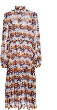 Temperley London Tulip-Print Silk Midi Dress