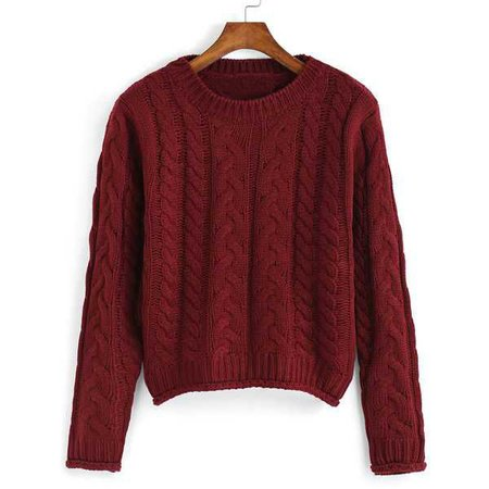 Dark Red Patterned cropped sweater