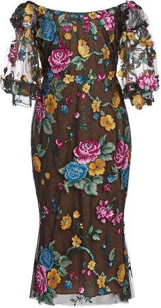 Marchesa Floral Tulle Midi Dress