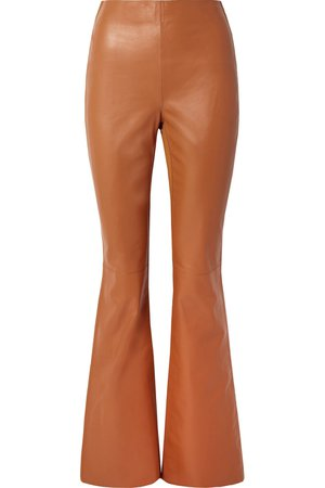 Acne Studios | Lizzie paneled leather and ribbed-jersey flared pants | NET-A-PORTER.COM