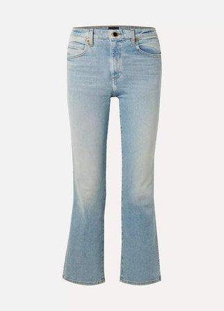 Vivian Cropped High-rise Bootcut Jeans - Light blue