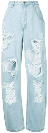 Pony Stone high waist distressed baggy jeans