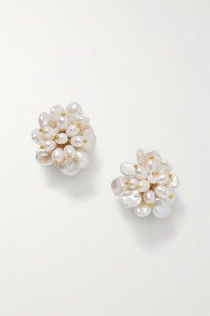 White Gold-plated pearl earrings   Bibi Marini   NET-A-PORTER