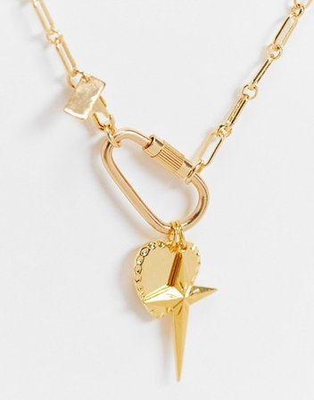 Regal Rose Exclusive heart charm cluster necklace in gold plate | ASOS