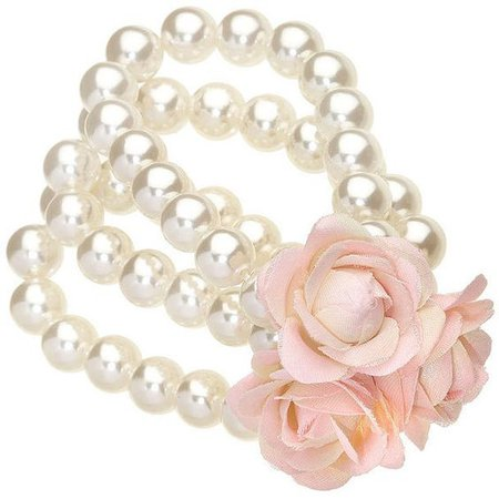 Pink Fabric Flowers Bracelet
