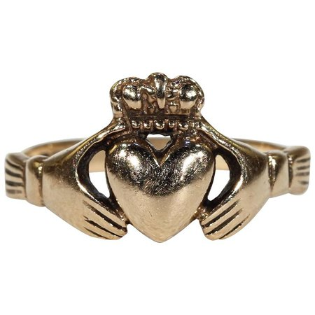 Vintage Irish Claddagh Ring Heart Hands Hallmarked Dublin 1975 : Victoria Sterling | Ruby Lane