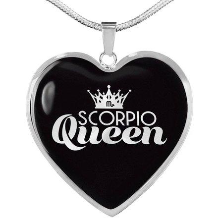 Scorpio Queen Heart Necklace - Zodiac Gal