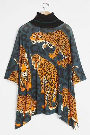 Leopard Poncho Pullover | Anthropologie