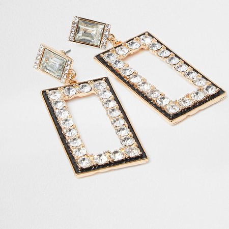 Gold colour drop diamante detail earrings | River Island