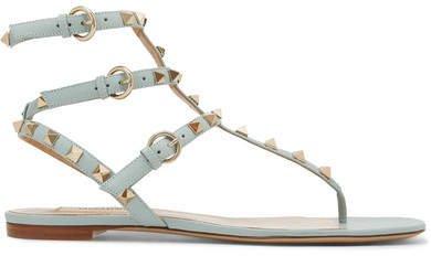 Garavani The Rockstud Leather Sandals - Sky blue