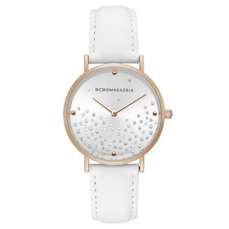 BCBGMAXAZRIA - BCBGMAXAZRIA Ladies Classic 2 Hands Quartz Analog Display Rose Goldtone Case Silvertone Dial White Leather Strap Watch, 36 mm Case BG50669008 - Walmart.com - Walmart.com