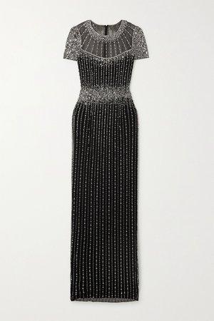 Black Delilah embellished tulle gown | Jenny Packham | NET-A-PORTER