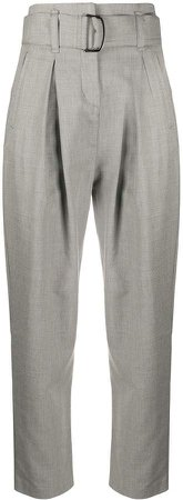 High-Rise Belted Tailored Trousers