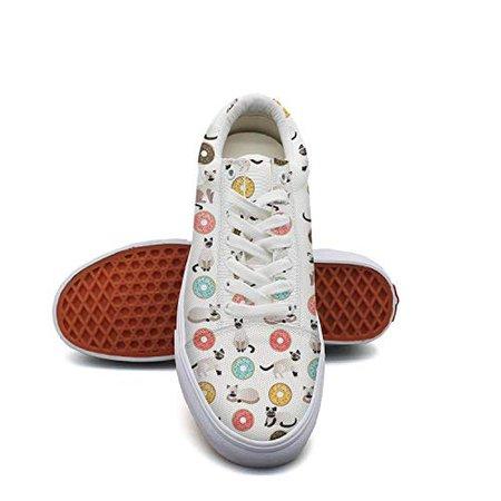 SERXO Siamese cat Flower Donut Womens Skateboarding Shoes Comfortable Sneakers for Walking | WantItAll