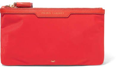 Filing Cabinet Leather-trimmed Shell Pouch - Red