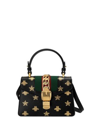 Gucci Sylvie Bee Star Mini Leather Bag - Farfetch