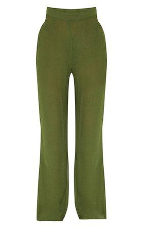 Khaki Wide Leg Linen Look Beach Trousers | PrettyLittleThing USA