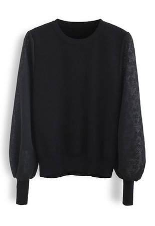 Flower Mesh Sleeves Spliced Knit Sweater in Black - Retro, Indie and Unique Fashion