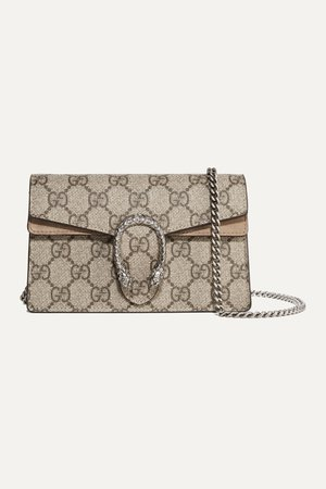 Brown Dionysus super mini printed coated-canvas and suede shoulder bag | Gucci | NET-A-PORTER