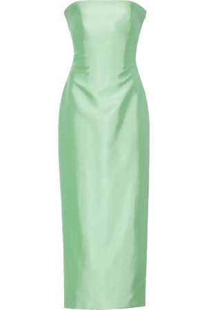 BRANDON MAXWELL Strapless Knotted-Back Satin Cocktail Dress