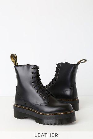 Dr. Martens Jadon - Black Leather 8-Eye Platform Boot