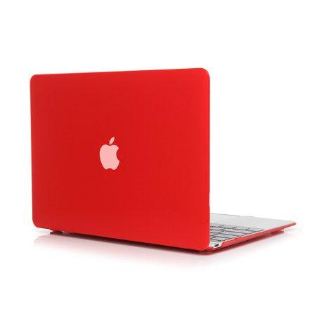 red MacBook Air laptop