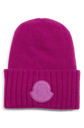 Moncler Logo Patch Wool Beanie | Nordstrom