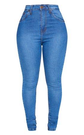 Shape Mid Wash High Waist Stretch Skinny Jeans | PrettyLittleThing USA