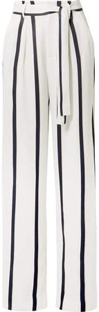 Evonne Striped Satin Wide-leg Pants - White