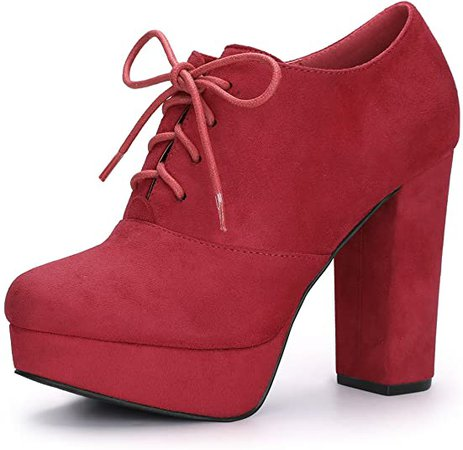 Amazon.com | Allegra K Women's Platform Chunky Heel Lace Up Black Boots - 9 M US | Ankle & Bootie