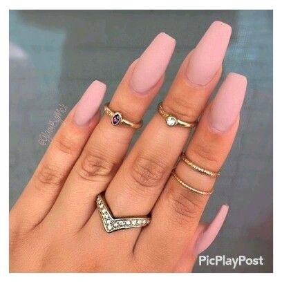 matte-acrylic-nails-coffin-coral-matte-acrylic-nails-more.jpg (408×408)