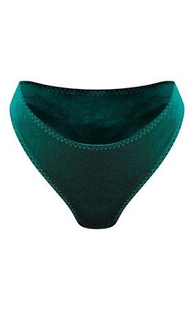 Green Velvet Thong | PrettyLittleThing USA