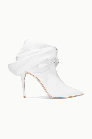 Bow-embellished Leather Ankle Boots - White